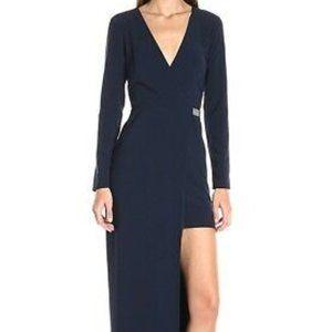 Halston Hertiage Asymmetrical Navy Gown NWT